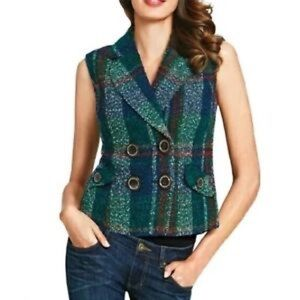 Cabi Tweed Wool double Breasted Vest #908